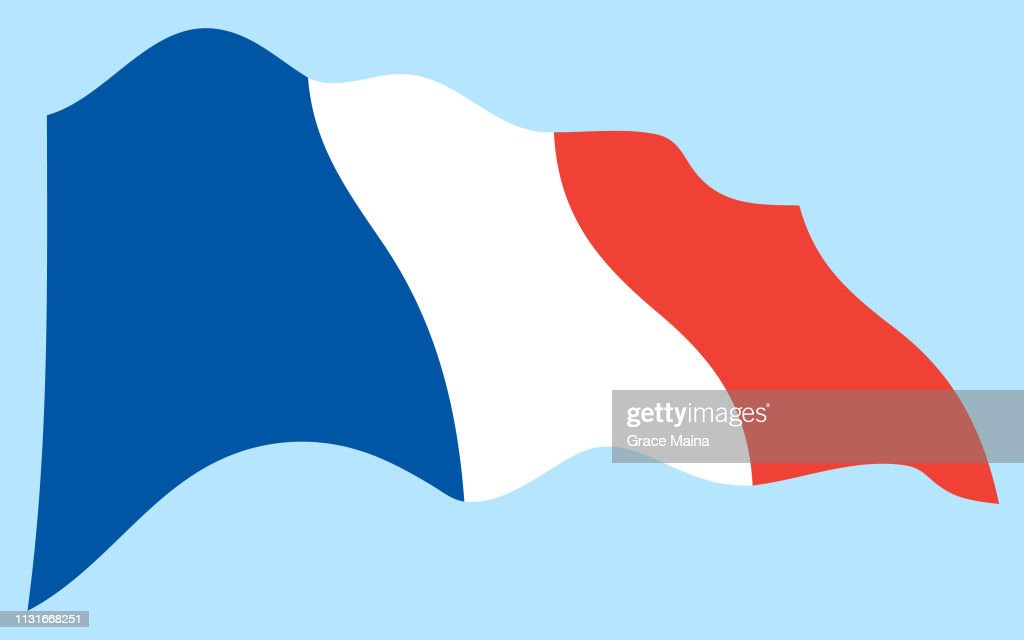 Flag of France Waving In The Air