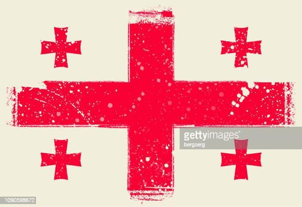 flagge von georgien. vektor-illustration mit grunge-rahmen - flagge von georgien stock-grafiken, -clipart, -cartoons und -symbole