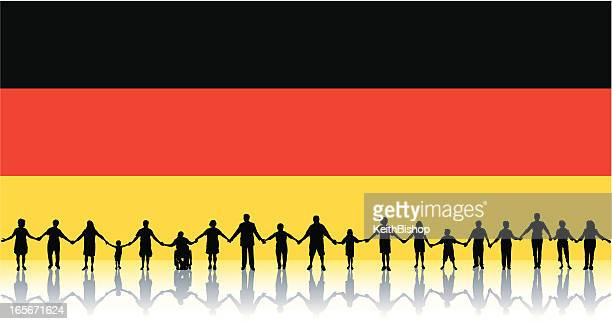 Flag of Germany, People Standing Together Holding Hands
