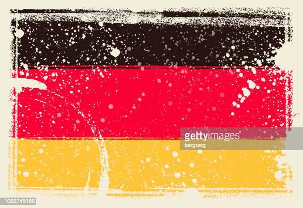 flagge von deutschland. vektor-illustration mit grunge-rahmen - deutsche flagge stock-grafiken, -clipart, -cartoons und -symbole