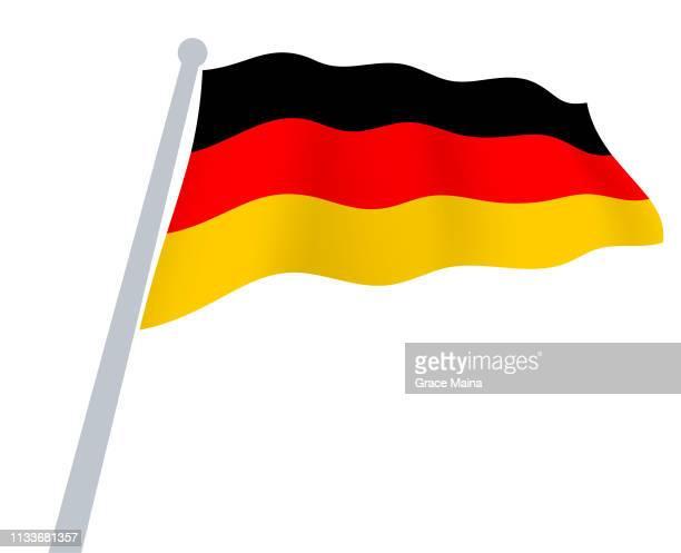 ドイツの旗は、空気ベクトルに手を振って - 旗棒点のイラスト素材/クリップアート素材/マンガ素材/アイコン素材