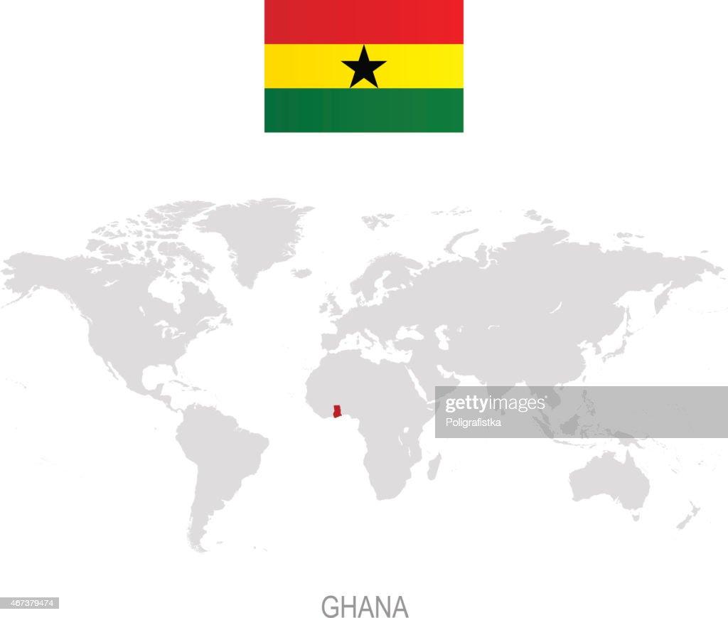 Flag of Ghana and designation on World map : stock illustration