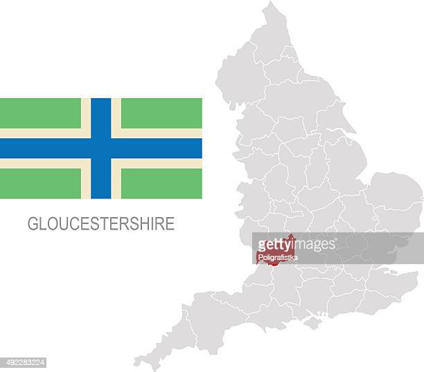 Map Of England Gloucestershire.Flag Of Gloucestershire And Location On England Map Stock Vector