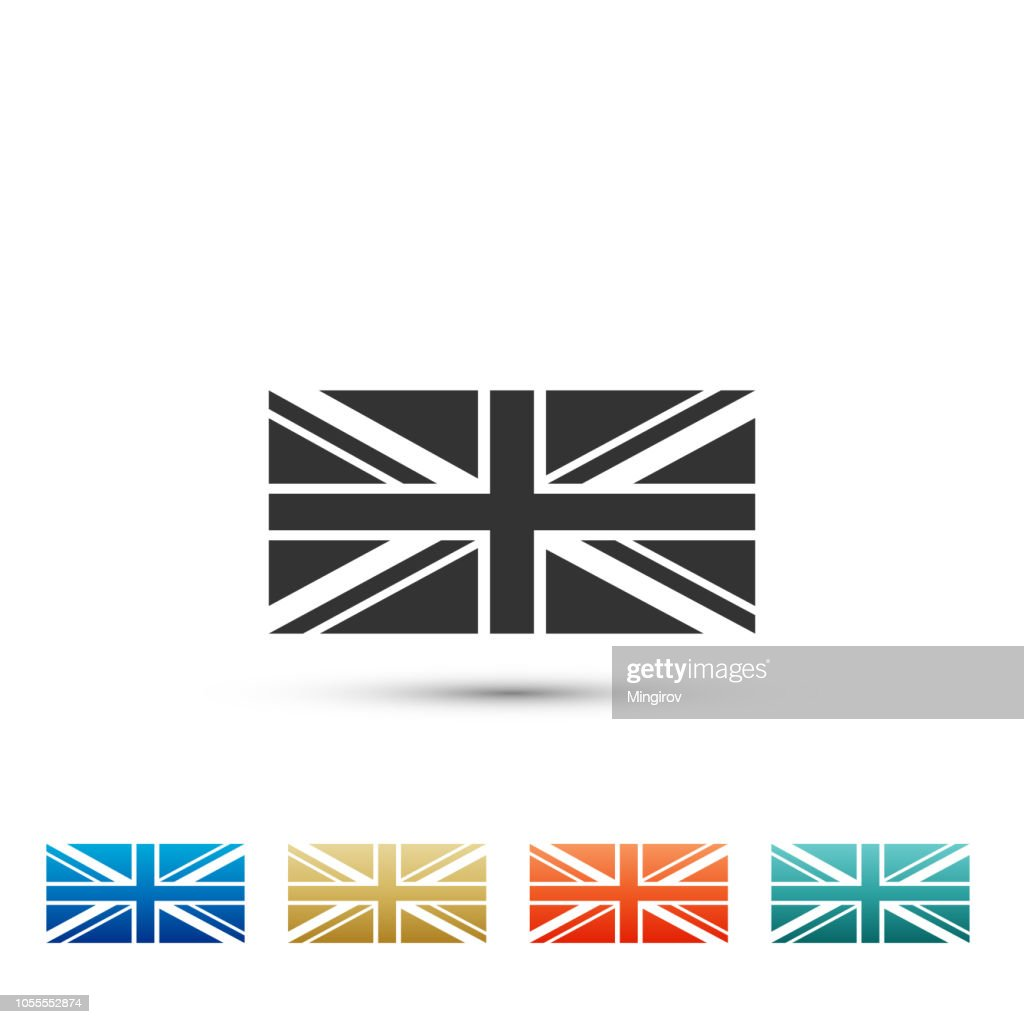 Flag of Great Britain icon isolated on white background. UK flag sign. Official United Kingdom flag sign. British symbol. Set elements in colored icons. Flat design. Vector Illustration