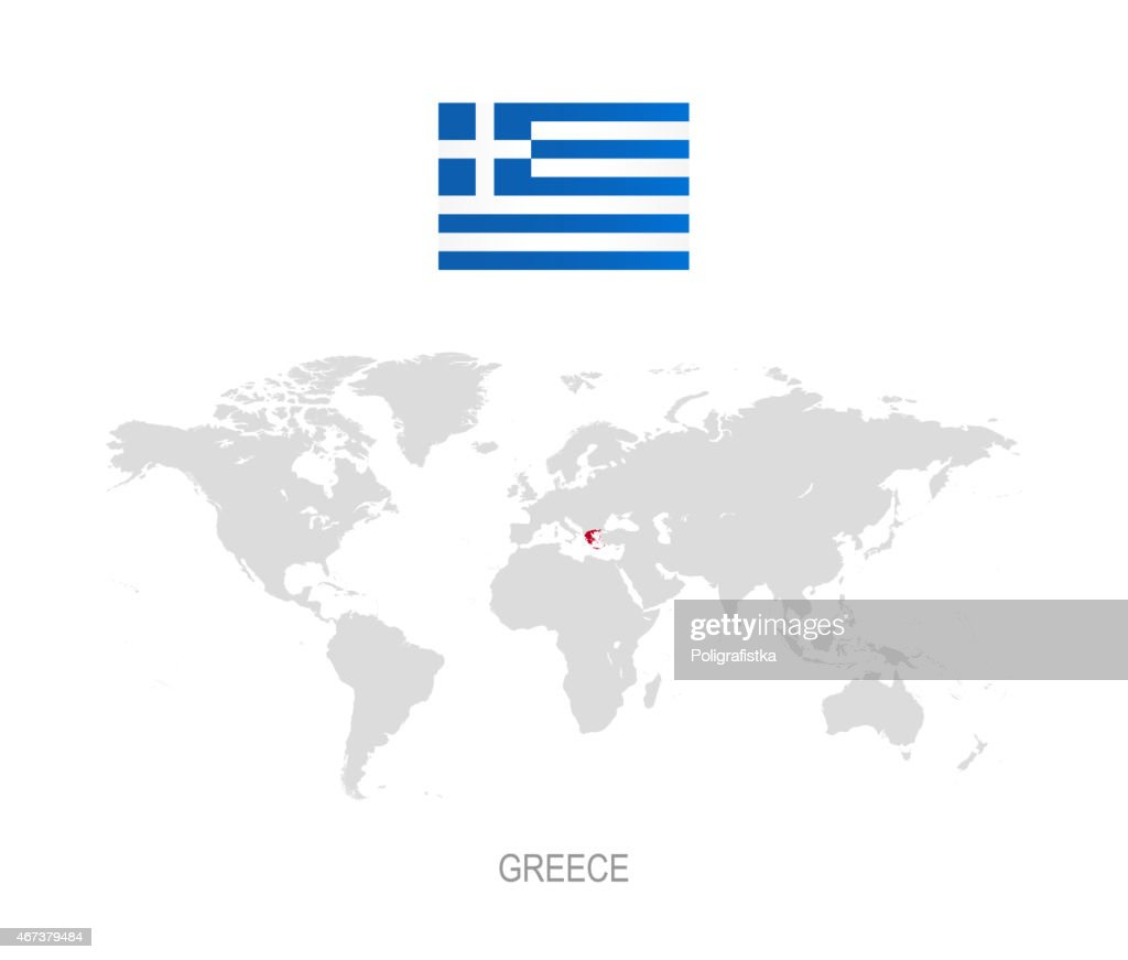 Flag Of Greece And Designation On World Map Vector Art | Getty Images