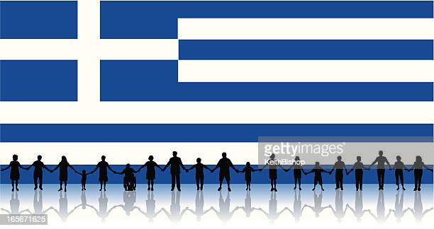 Flag of Greece, People Standing Together Holding Hands Background