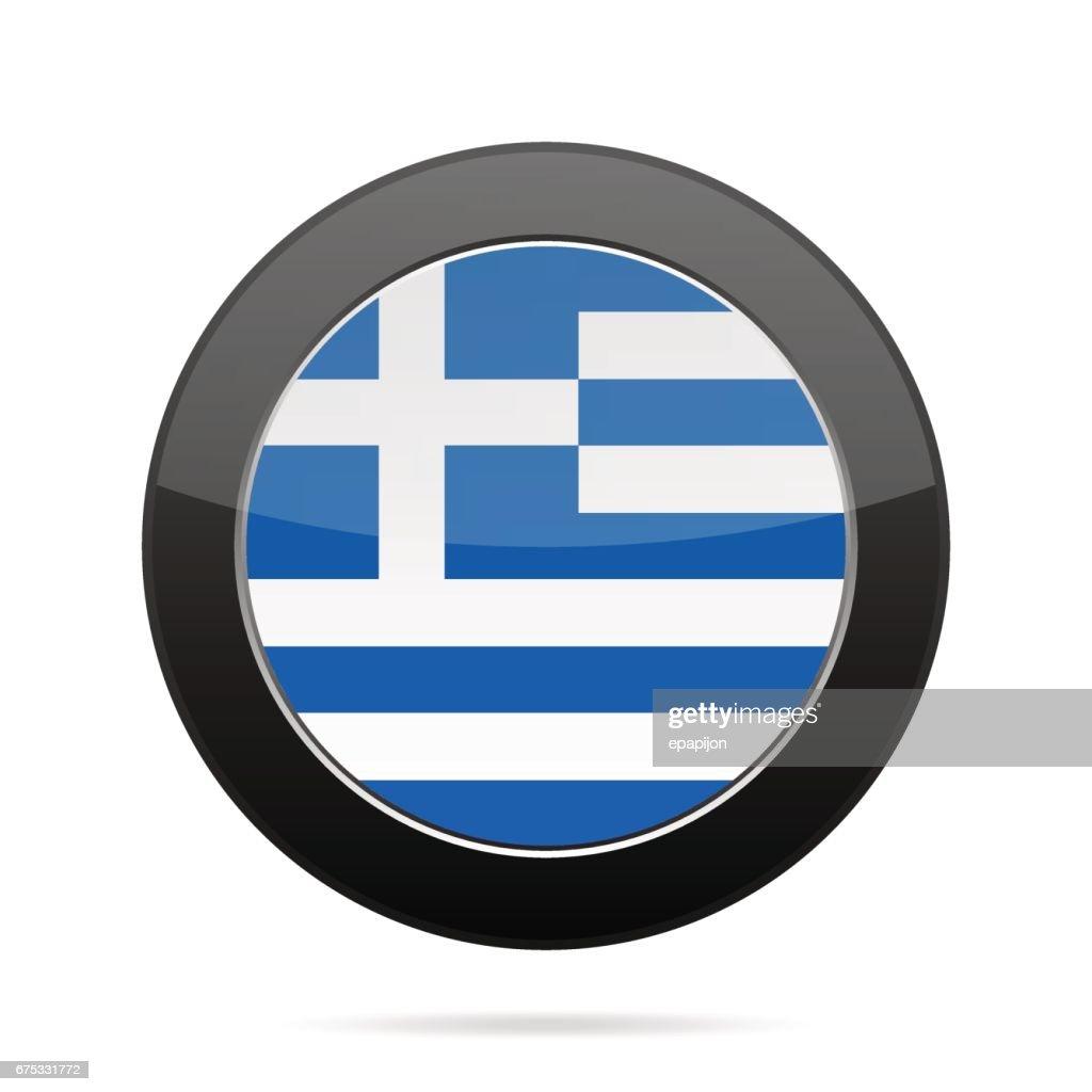 Flag of Greece. Shiny black round button.
