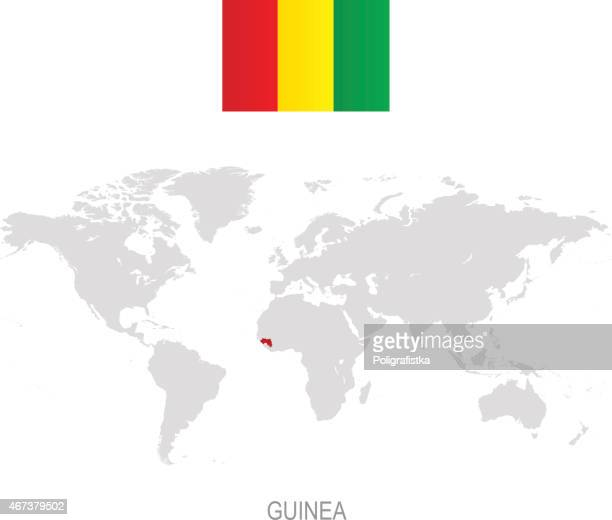 Flag of Guinea and designation on World map
