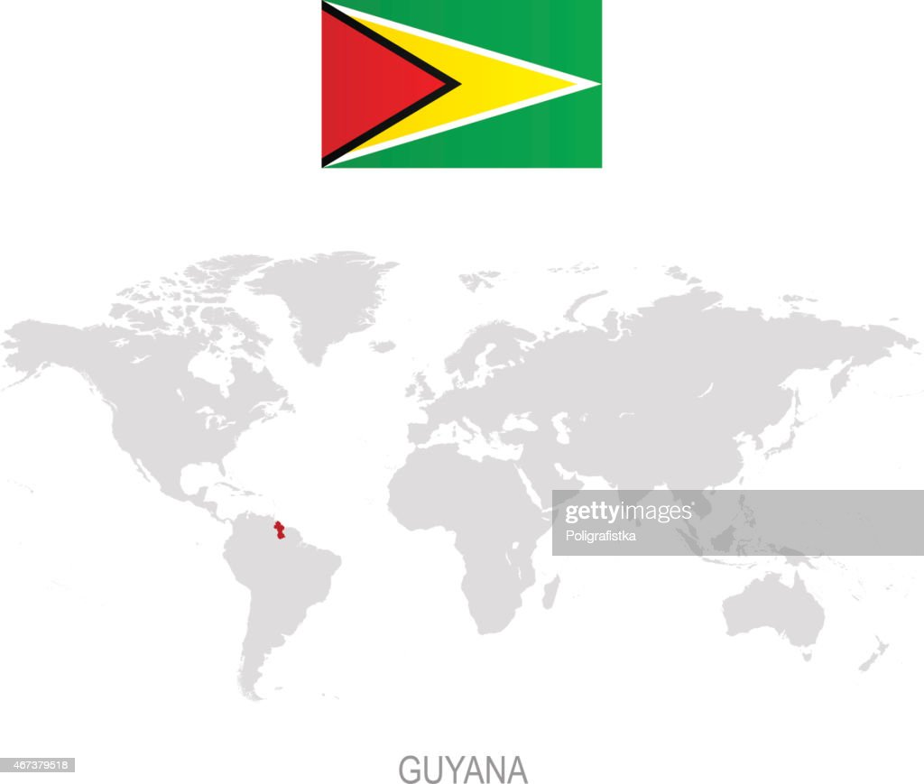 Flag Of Guyana And Designation On World Map Vector Art Getty Images
