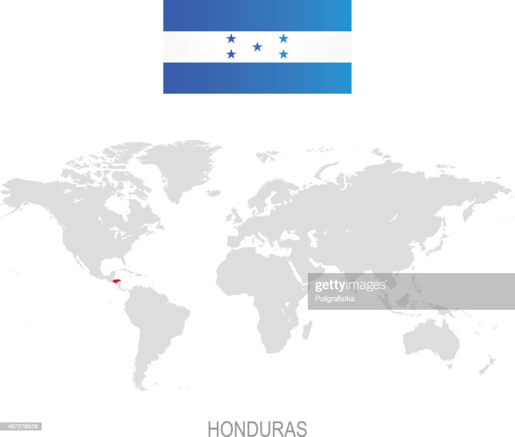 Flag of honduras and designation on world map vector art getty images flag of honduras and designation on world map vector art gumiabroncs Images