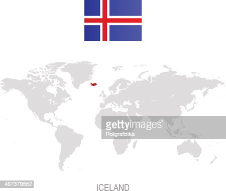 Flag of iceland and designation on world map vector art getty images gumiabroncs Image collections