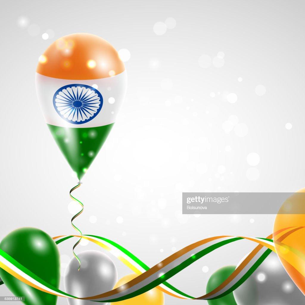 Bandera de la India en globo aerostático : Arte vectorial