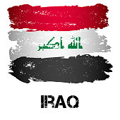 Flag of Iraq from brush strokes