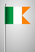 Flag of Ireland. National Flag on Flagpole. Isolated Illustration on Gray Background