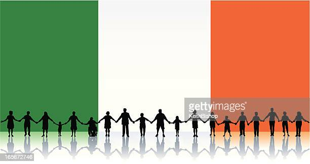 Flag of Ireland, People Standing Together Holding Hands Background