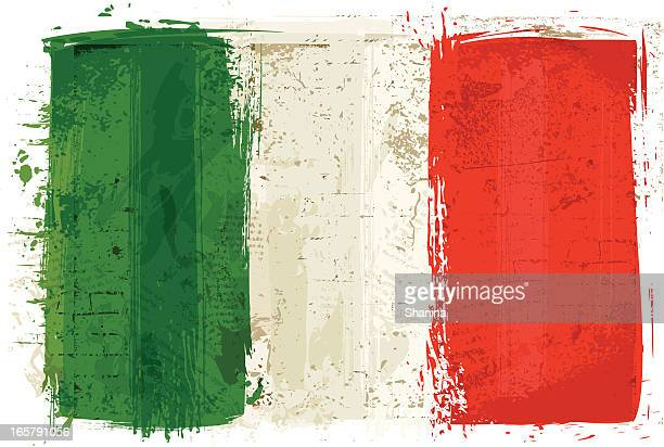 flag of italy on wall - italy stock illustrations