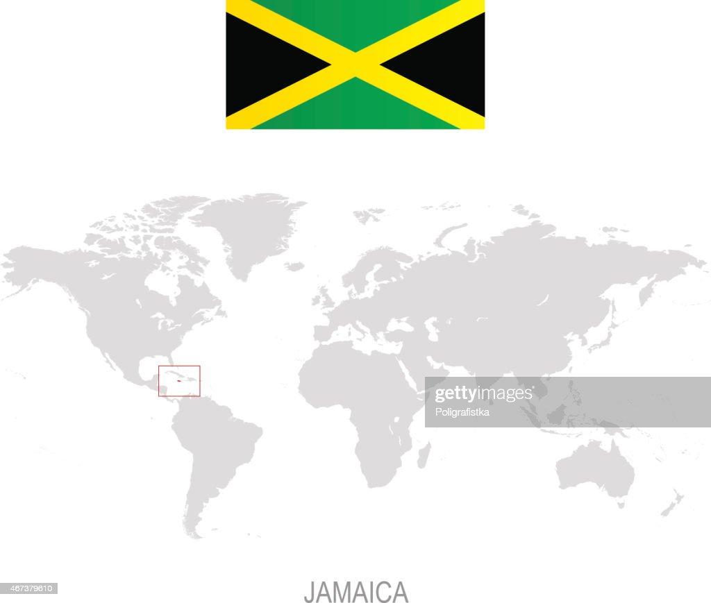Flagge Von Jamaica Und Bezeichnung Auf Der Weltkarte Stock ...