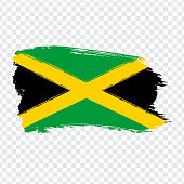 Flag of Jamaica from brush strokes.  Flag Jamaica on transparent background for your web site design, logo, app, UI. Stock vector. Vector illustration EPS10.