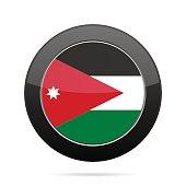 Flag of Jordan. Shiny black round button.