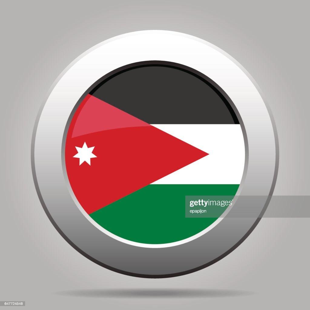 Flag of Jordan. Shiny metal gray round button.