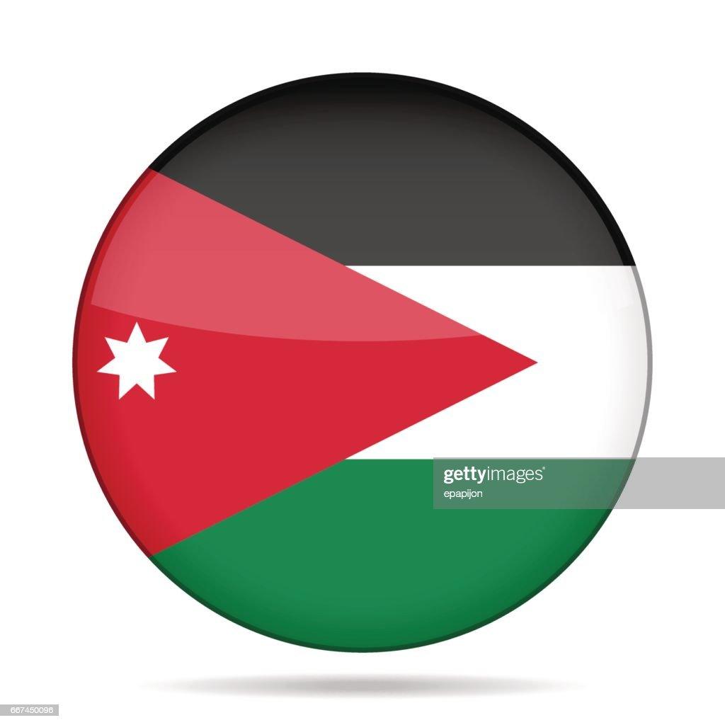Flag of Jordan. Shiny round button.