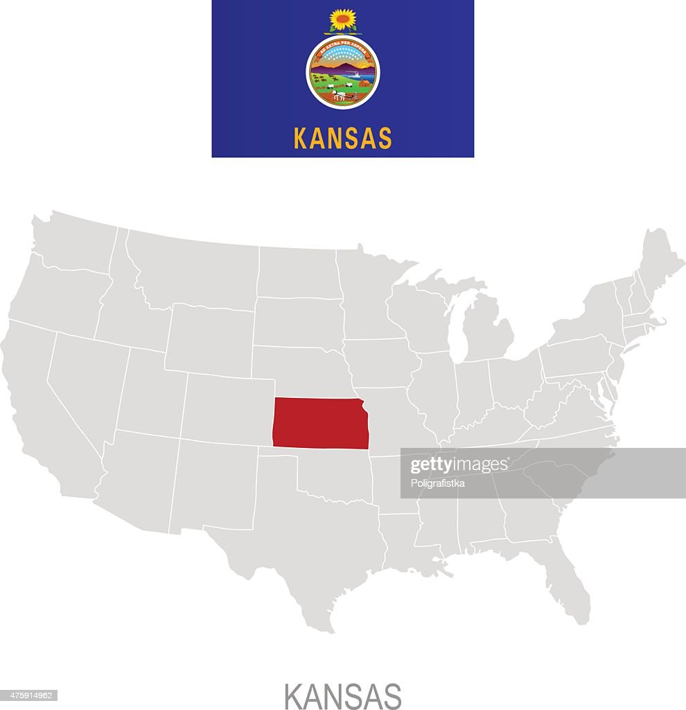 Flag Of Kansas And Location On Us Map Vector Art Getty Images