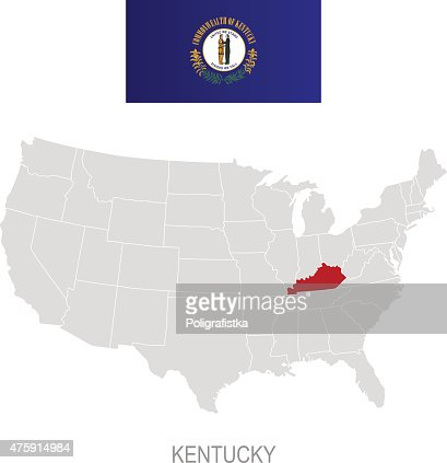 Flag Of Kentucky And Location On Us Map Vector Art Getty Images - Kentucky on us map