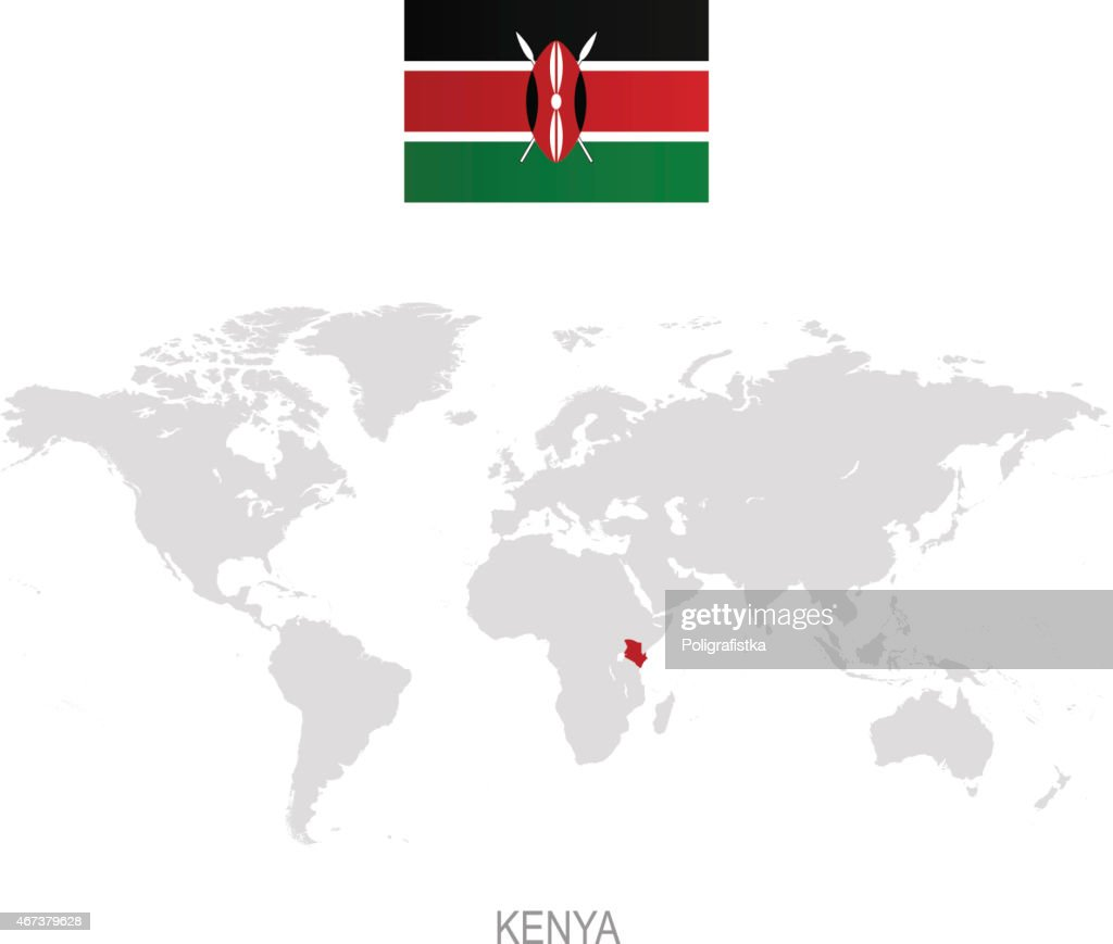 Image of: Flag Of Kenya And Designation On World Map High Res Vector Graphic Getty Images