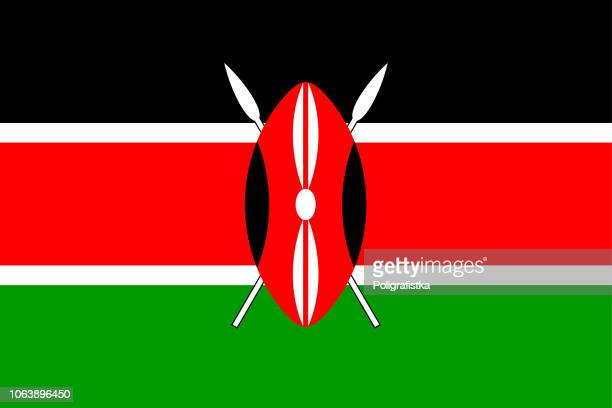 illustrazioni stock, clip art, cartoni animati e icone di tendenza di flag of kenya - kenya