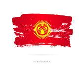 Flag of Kyrgyzstan. Vector illustration