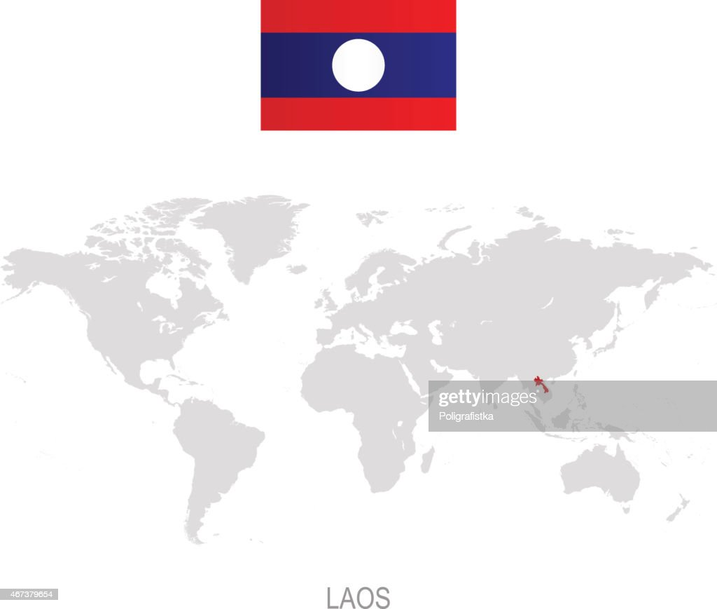 Picture of: Flag Of Laos And Designation On World Map High Res Vector Graphic Getty Images