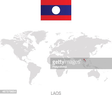 Laos Flag Map Vector Art Getty Images - Laos map vector