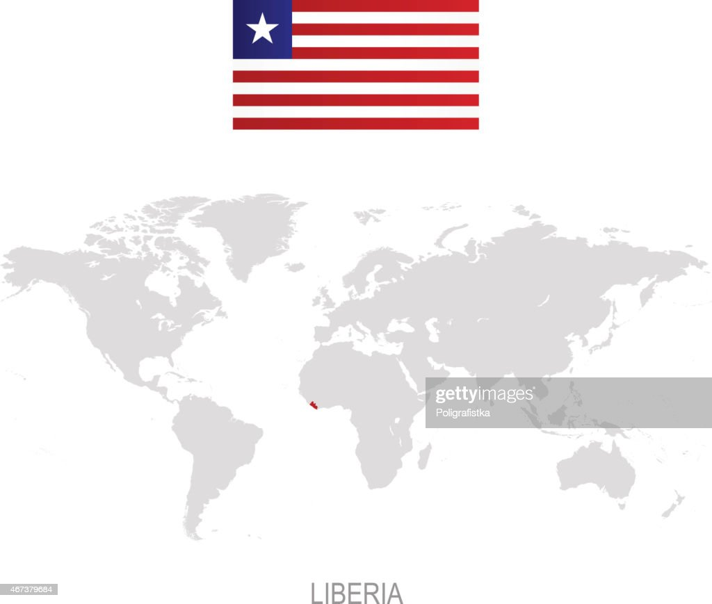 Flag of liberia and designation on world map vector art getty images flag of liberia and designation on world map vector art gumiabroncs Choice Image