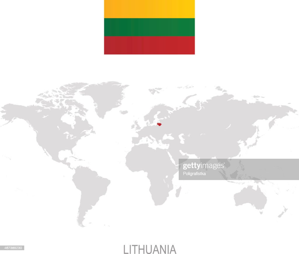 Flag Of Lithuania And Designation On World Map Vector Art Getty