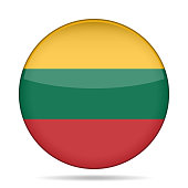 Flag of Lithuania. Shiny round button.