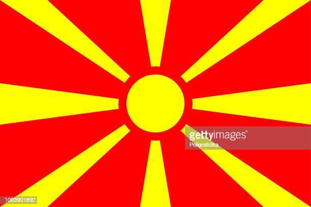 stockillustraties, clipart, cartoons en iconen met vlag van macedonië - macedonië land