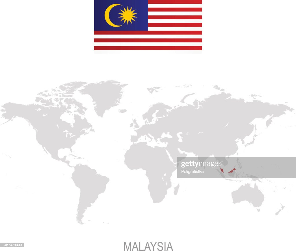 Flag of malaysia and designation on world map vector art getty images flag of malaysia and designation on world map vector art gumiabroncs Choice Image