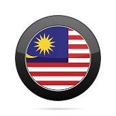 Flag of Malaysia. Shiny black round button.