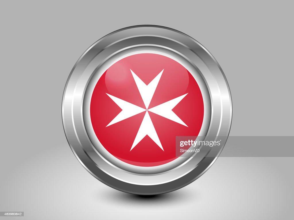 Flag of Malta. Metal Round Icon