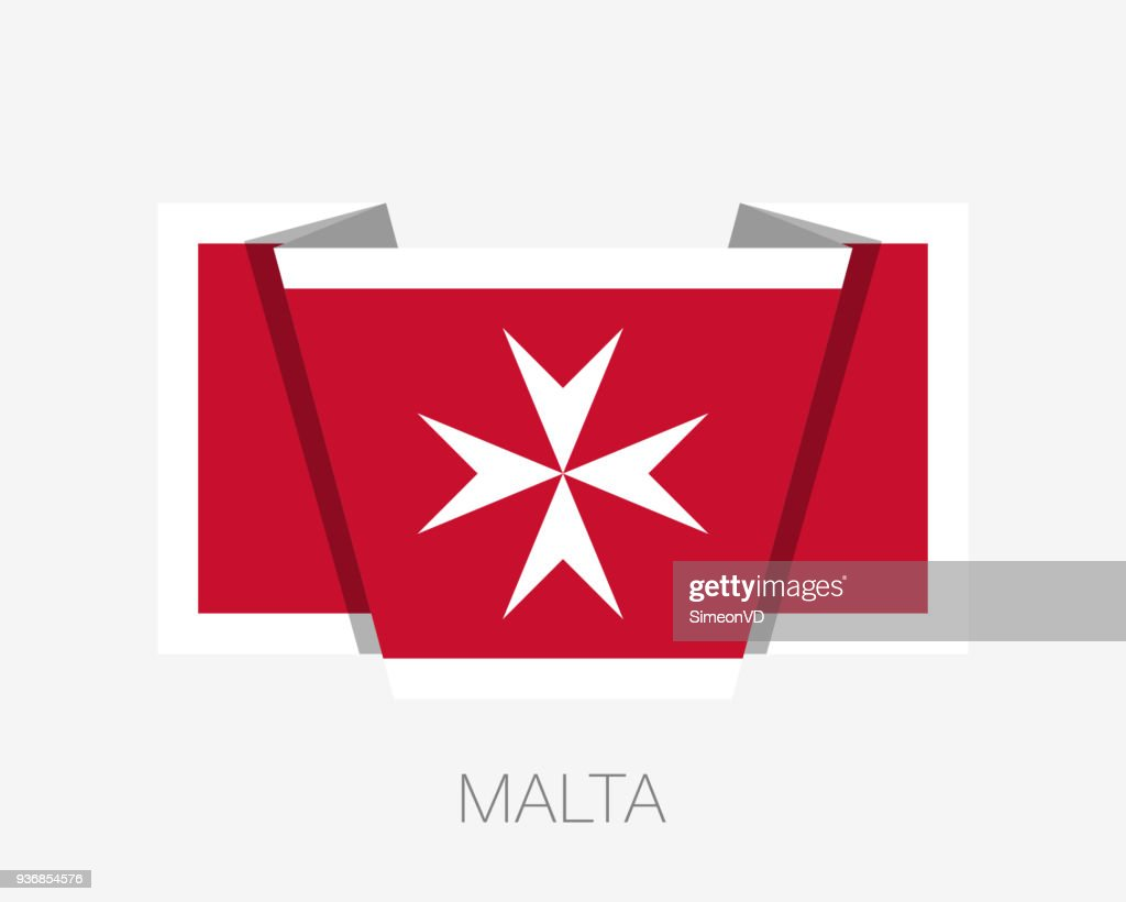Flag of Malta. Version with Maltese Cross. Flat Icon Waving Flag with Country Name on a White Background