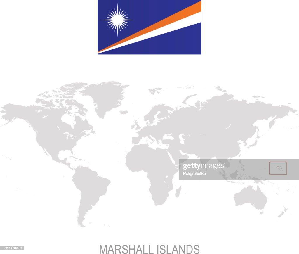 Flag Of Marshall Islands And Designation On World Map Vector Art ...