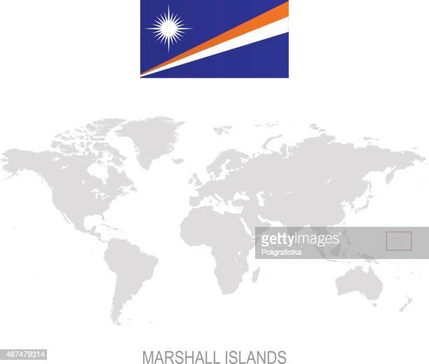 flag of marshall islands and designation on world map - marshall islands stock illustrations, clip art, cartoons, & icons