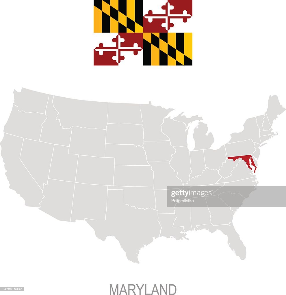 Flag Of Maryland And Location On Us Map Vector Art Getty Images