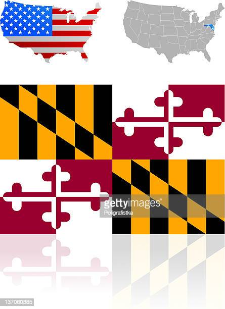 flag of maryland - baltimore maryland stock illustrations, clip art, cartoons, & icons