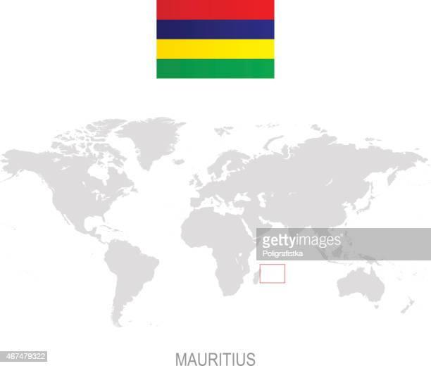 ilustrações, clipart, desenhos animados e ícones de bandeira da ilha maurícia e a designação no mapa-múndi - ilhas maurício