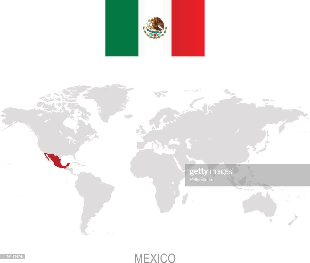 Flagge Von Mexiko Und Bezeichnung Auf Der Weltkarte Stock ...