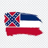 Flag of Mississippi from brush strokes. United States of America.  Flag Mississippi on transparent background for your web site design, logo, app, UI. Stock vector. Vector illustration EPS10.
