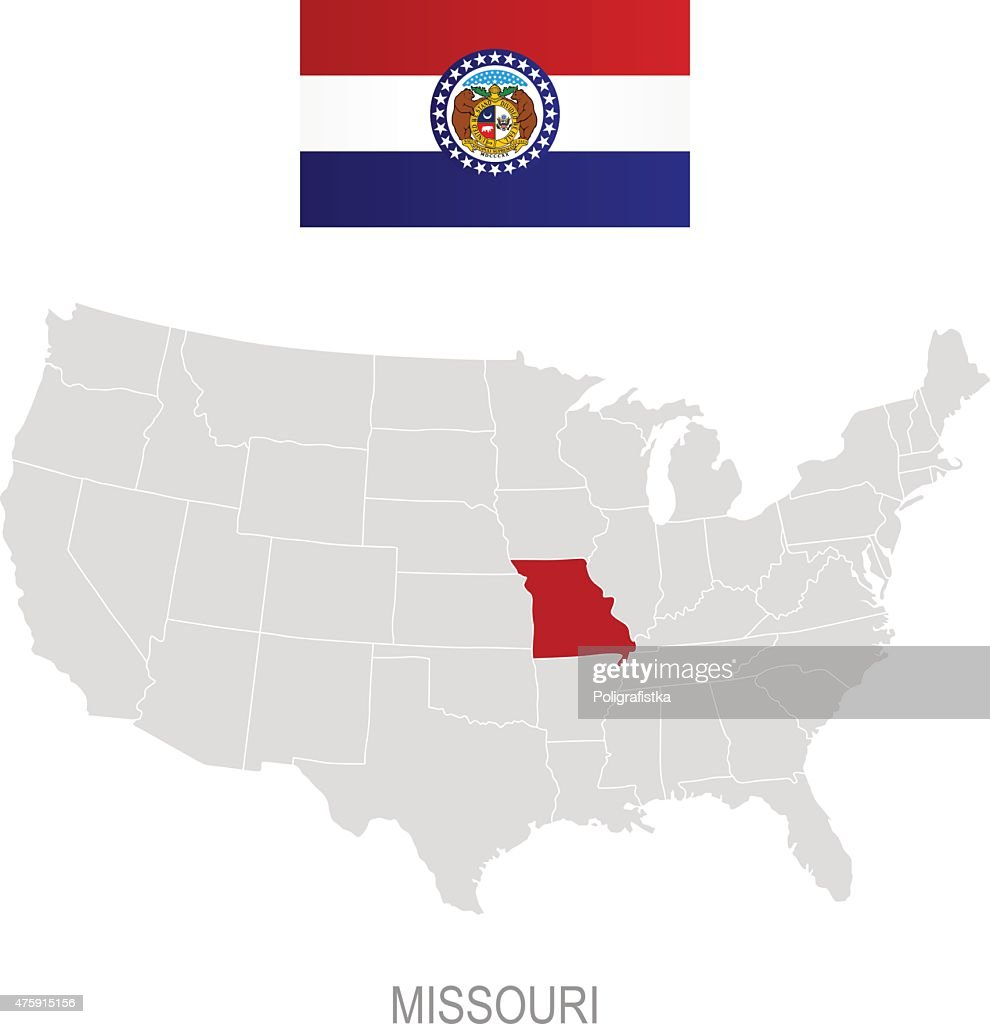 Flag Of Missouri And Location On Us Map Vector Art Getty Images