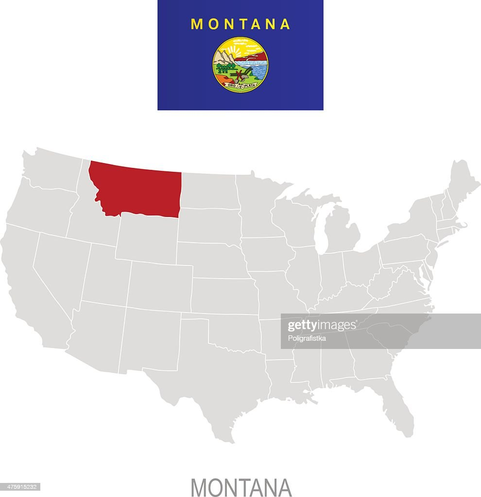 Flag Of Montana And Location On Us Map Vector Art Getty Images