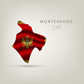 Flag of MONTENEGRO as a country with a shadow